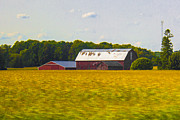 Ben and Raisa Gertsberg - Countryside Landscape With Red Barns
