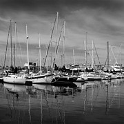 Ben and Raisa Gertsberg - Marina Boats In Victoria British Columbia Black And White