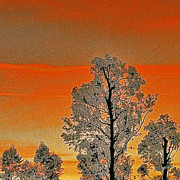 Ben and Raisa Gertsberg - Red Sunset With Trees